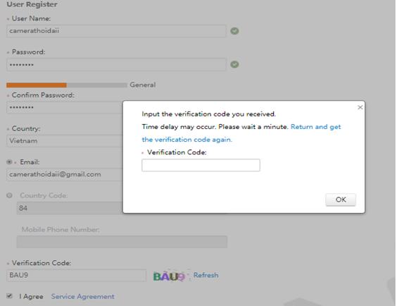 Nhập mã Code được gửi về mail sau khi đăng ký