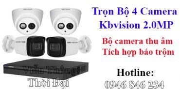 Bộ 4 camera kbvision 2mp thu âm báo động