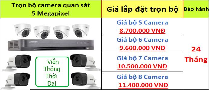 Bảng giá lắp đặt trọn bộ camera cao cấp