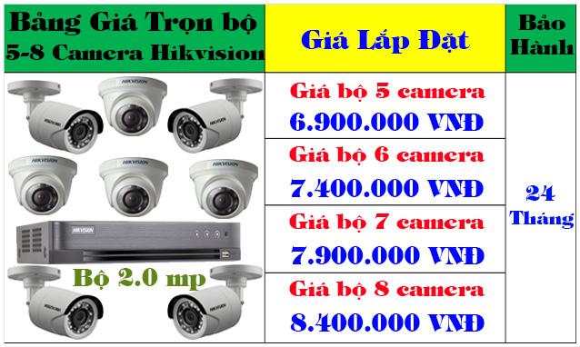 Lắp đặt trọn bộ từ 5- 8 camera hikvision 2mp