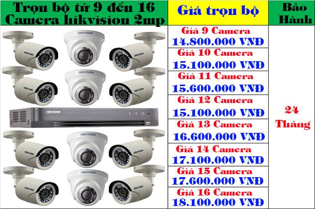 Lắp đặt trọn bộ từ 9 đến 16 camera hikvision 2mp