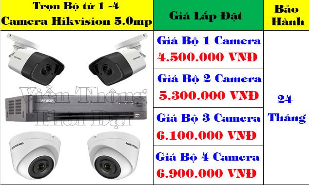 lắp đặt trọn bộ 4 camera hikvision 5 megapixel