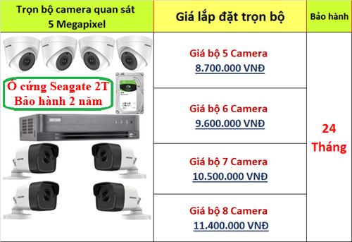 Lắp đặt trọn bộ 5-8 camera 5mp