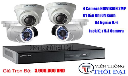 Trọn bộ 4 camera hikvsion 2mp giá cực sốc