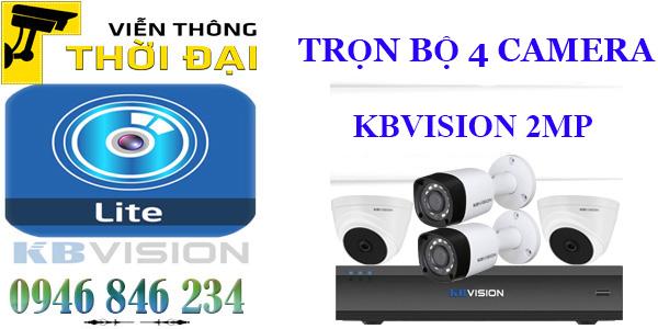 Trọn bộ 4 camera kbvision 2mp giá rẻ
