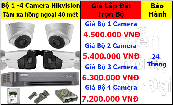 Bộ 1 - 4 camera hikvision 2mp cao cấp