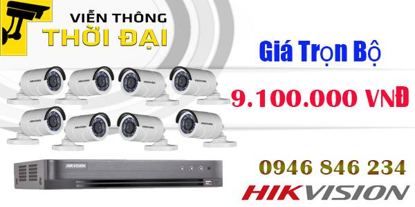 Trọn bộ 8 camera hikvision 2.0mp