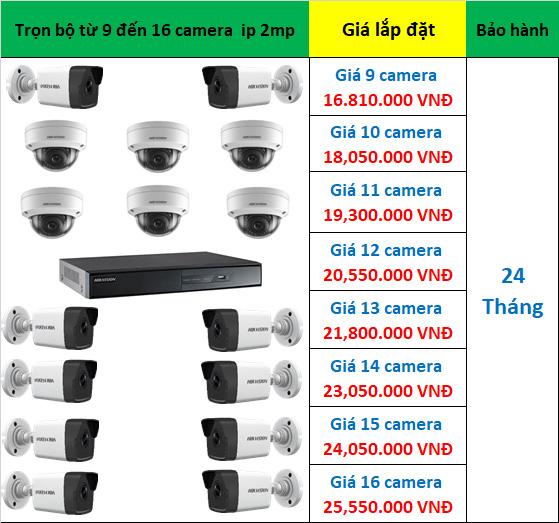 Trọn bộ 9 đến 16 camera ip hikvision