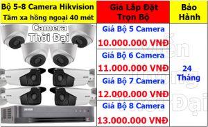 Bảng giá lắp đặt từ 5 đến camera hikvision tầm quan sát hồng ngoại 40 mét