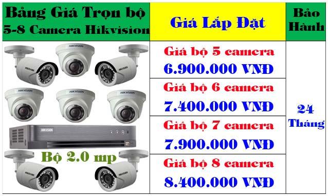 lắp đặt trọn bộ 5 - 8 camera hikvision