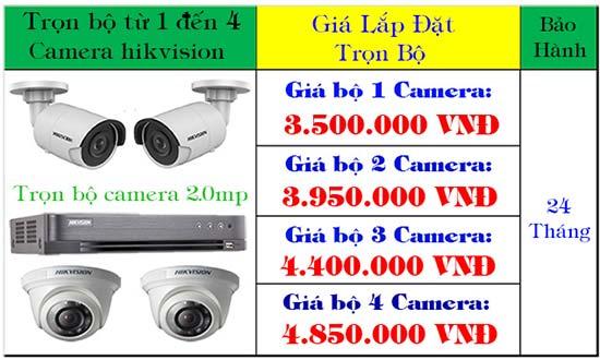 Bảng giá trọn bộ từ 1 - 4 camera hikvision