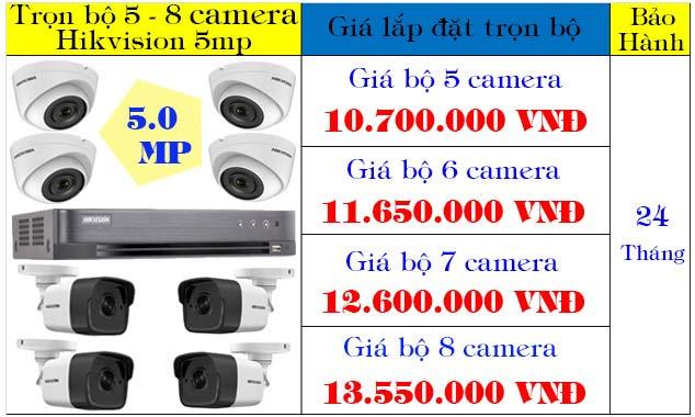 Trọn bộ từ 5 - 8 camera hikvision độ phân giải 5mp