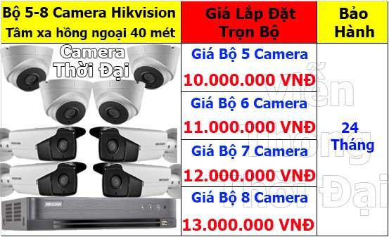 Trọn bộ 5 - 8 camera hikvision thân lớn 2mp