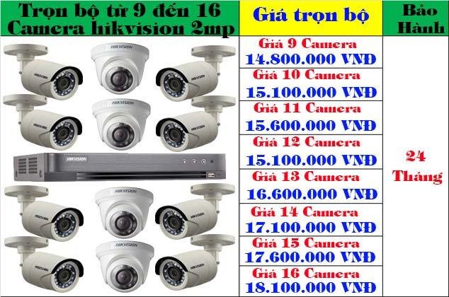 trọn bộ từ 9 đến 16 camera hikvision 2mp