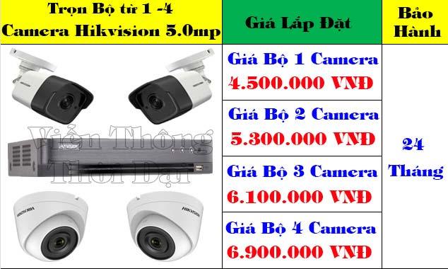 Trọn bộ từ 1 đến 5 camera hikvision 5mp