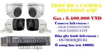 Giá trọn gói bộ 4 camera hikvision 2MP
