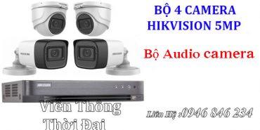 Trọn bộ 4 camera hikvision 5MP THU ÂM