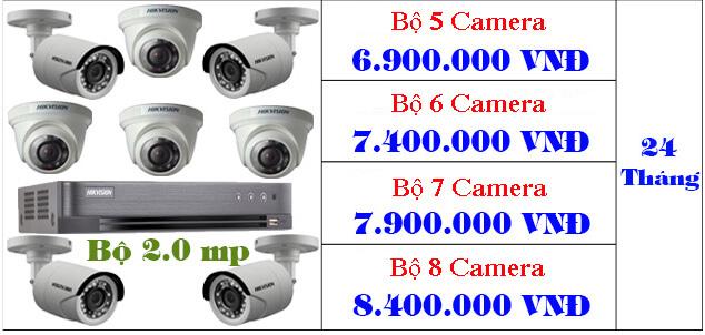 Bảng giá trọn bộ từ 5-8 camera hikvision giá rẻ tphcm