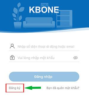 Đăng kí 1 tài khoản kbone mới