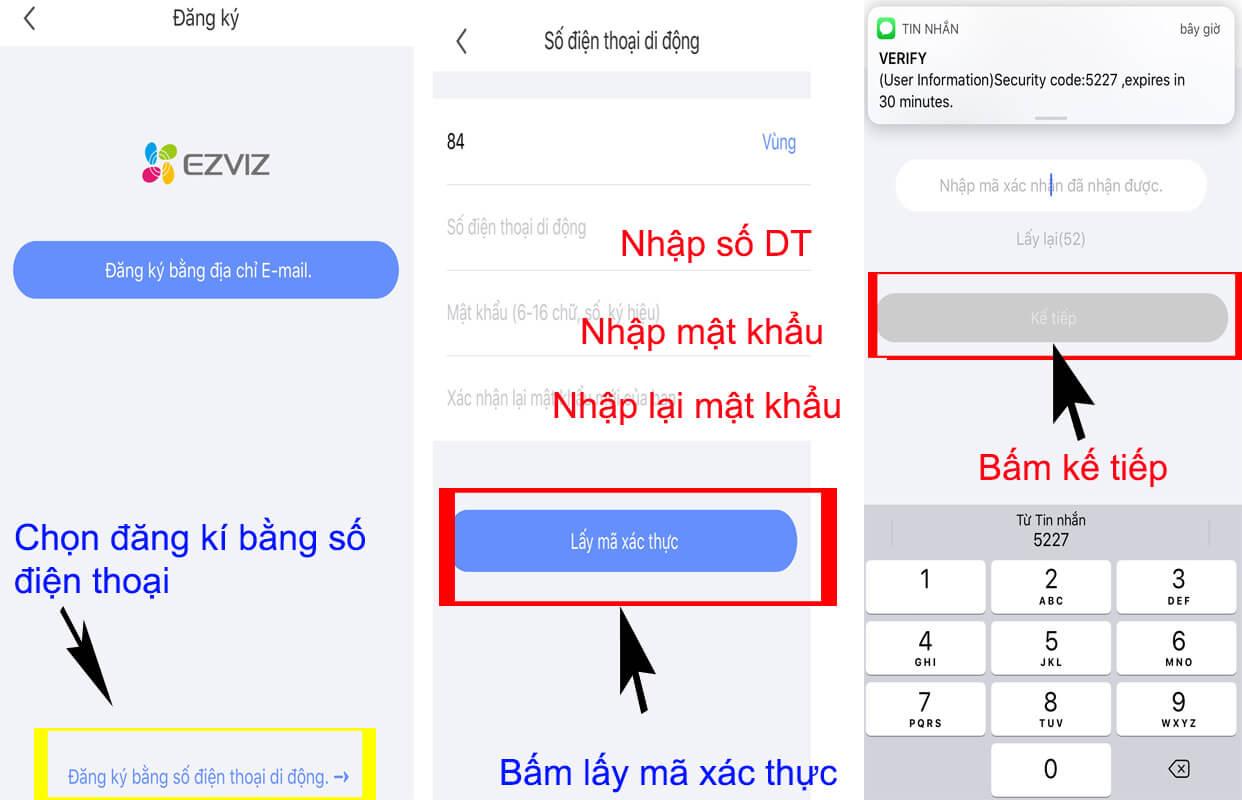 Tiến hành nhập mã xác nhận được gửi về bằng tin nhắn