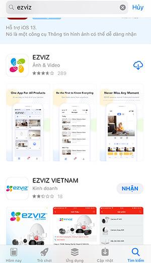 Tải ứng dụng ezviz từ cửa hàng