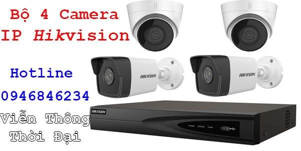 Bộ 4 camera IP hikvision 2mp