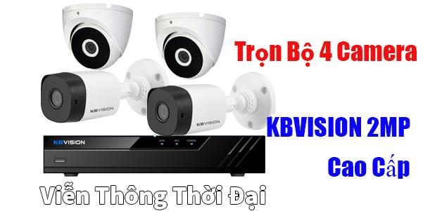 Trọn bộ 4 camera kbvision 2mp cao cấp